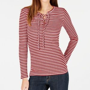 Michael Kors Ribbed Lace-up Top - Red & White